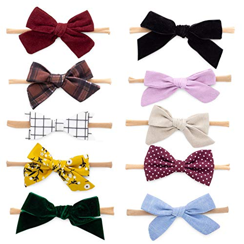 Ribbon Bow Headband - Parker Baby Girl Headbands and Bows, Assorted 10 Pack of Hair Accessories for Girls -