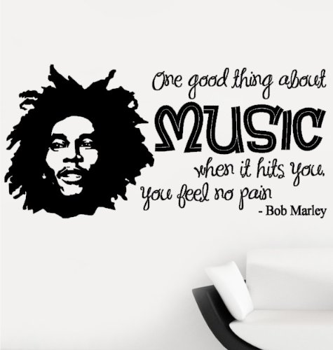 Bob Marley One Good Thing About Music Quote Lounge Living Room Hallway  Bedroom Wall Sticker Wall Part 64