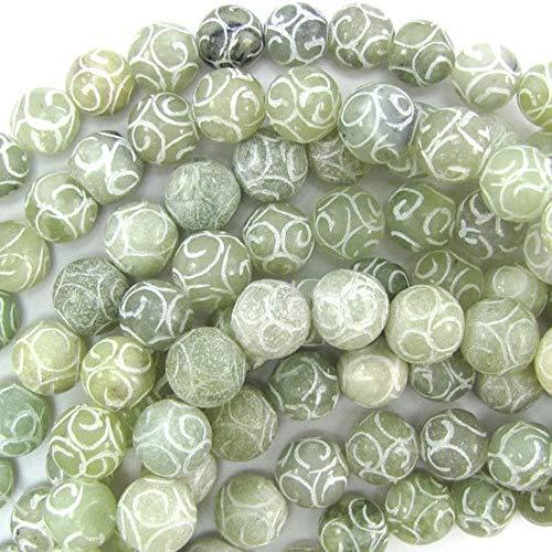 11mm - 12mm New Jade Carved Round beads 15'' Strand ()