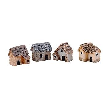 Amazonde Winomo 4 Stücke Mini Haus Deko Miniatur Garten Landschaft