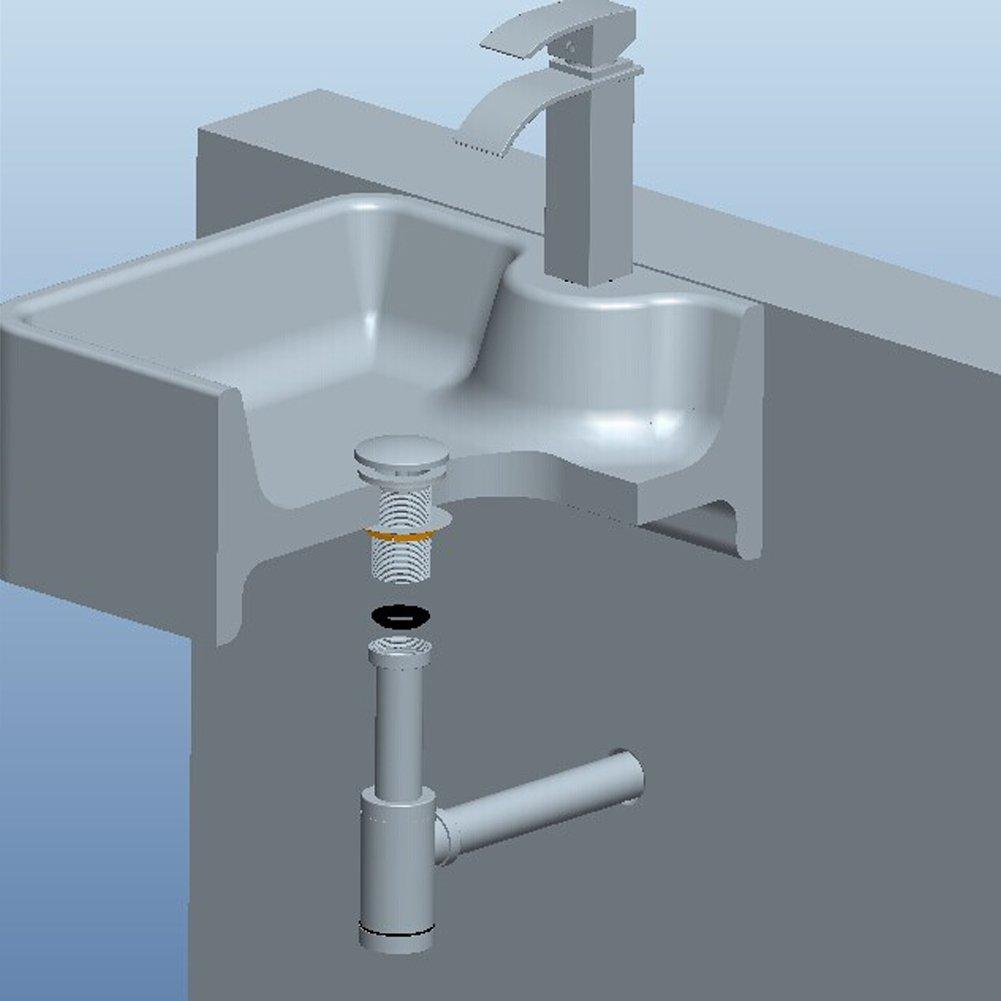ROVATE Round Bottle Trap, Zinc Alloy Basin Sink Waste Drain P-TRAP ...