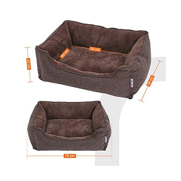 FEANDREA Washable Plush Dog Bed with Removable Cover, Dog Sofa 3