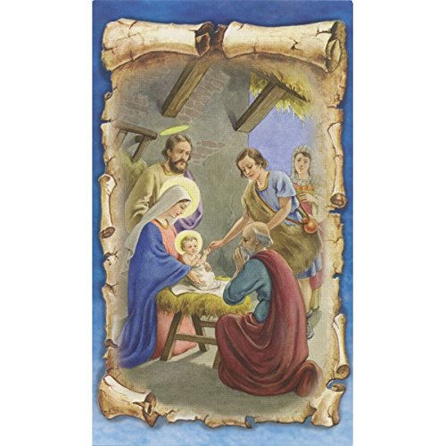 Inlay Scroll (The Holy Family Nativity Scene with Gold Inlay Scroll Detail | Blessed Virgin Mary Madonna and Child Icon 4 1/2 Inch with Stand)