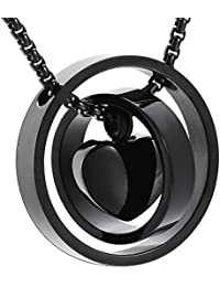 Engravable Two Circle Lock Heart Cremation Necklace For Ashes + Free Box ,Chain And Fill Kits