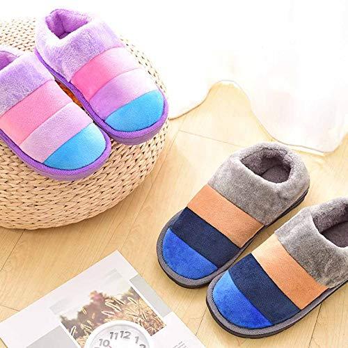 Donna Pantofole Colorate Li Uomo Miss Felpa Design Neve Spessa Di Righe Scarpetta A E Da Grey Cotone In Con Xwpwgx