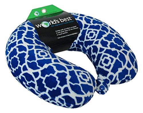 World's Best Trellis Feather Soft Microfiber Neck Pillow, Black