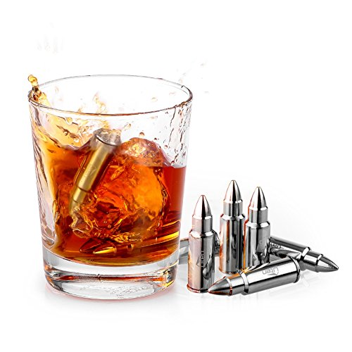 Ice Gift (Ice cube Uten Premium Reusable Whiskey Bullet Shaped Healthy Chillers Stones Stainless Steel Gift Set 6 Stones Rocks Gift Box with Storage Bag and Tong [6 Pack])
