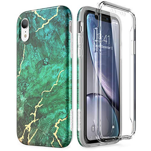 (SURITCH Marble iPhone XR Case, [Built-in Screen Protector] Full-Body Protection Hard PC Bumper + Glossy Soft TPU Rubber Gel Shockproof Cover for iPhone XR- Green/Gold)