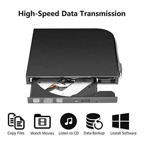 DVD Drive PC Computer CD,External USB Optical Player, Ultra-Thin Portable Type-C DVD Burner/Writer/Rewriter Various Brands Laptop Desktop All-in-one Machines so on by tengertang