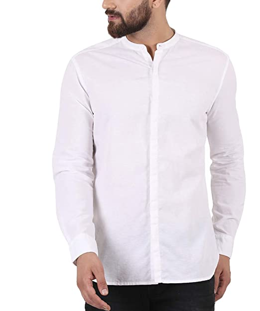 201a4920c78 TURMS Stain Repellent   Anti Odour The Zephyr White Cotton Linen Slim-Fit  Shirt for Men  Amazon.in  Clothing   Accessories