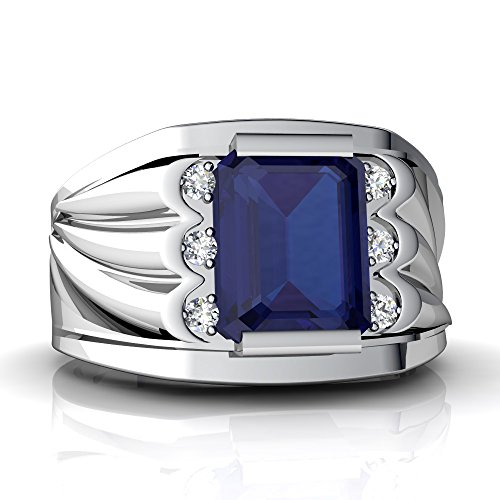 14kt White Gold Lab Sapphire and Diamond 9x7mm Emerald_Cut Men's Ring - Size 11.5 Blue Sapphire 14kt Gold Ring