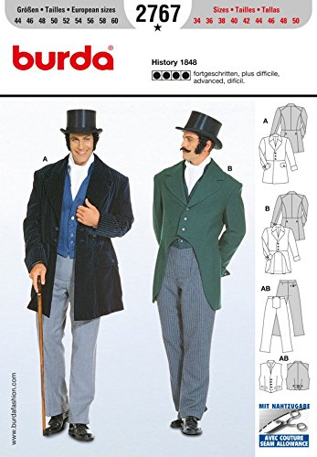 Victorian Sewing Patterns- Dress, Blouse, Hat, Coat, Men's Burda Craft Sewing Pattern 2767 - History 1848 Sizes: One Size $12.95 AT vintagedancer.com