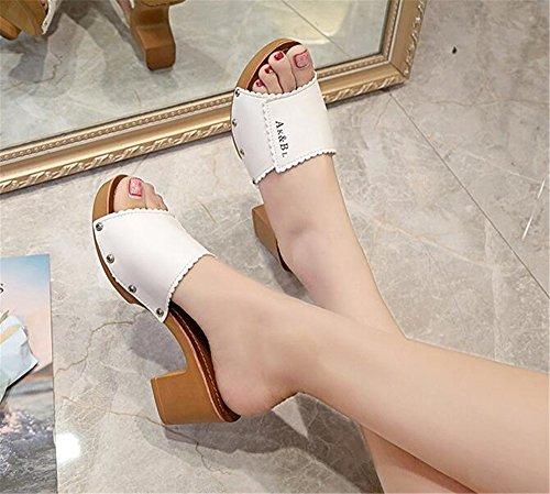 Sandal Queena Slip Heel Slipper Block Wheeler On Heel White Sandals Shoe Trendy Slide High Everyday Comfortable rt4rqFO