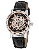 GuTe Classic Steampunk Bling Automatic Mechanical Wristwatch Skeleton Rose-gold Black Unisex
