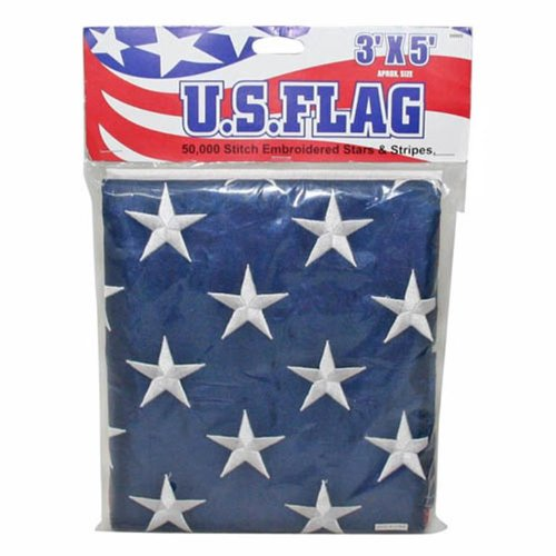 IIT 09900 US Flag Stitch Embroidered Stars and Stripes, 3-Feet x 5-Feet by Anley