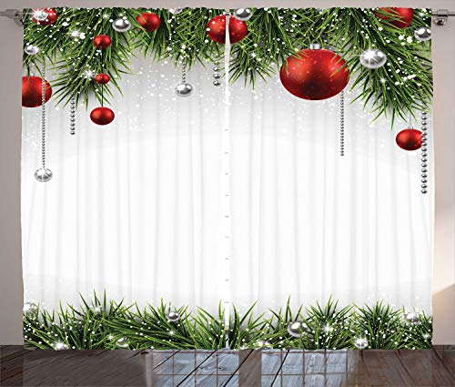 "Ambesonne Christmas Curtains, Classical Christmas Ornaments and Baubles Coniferous Pine Tree Twig Tinsel Print, Living Room Bedroom Window Drapes 2 Panel Set, 108"" X 90"", Vermilion Green"