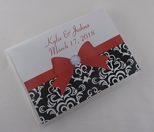 Wedding Photo Album 596 Black Damask with red bow personalized photo book engagement anniversary 4x6 or 5x7 up to 100 pictures