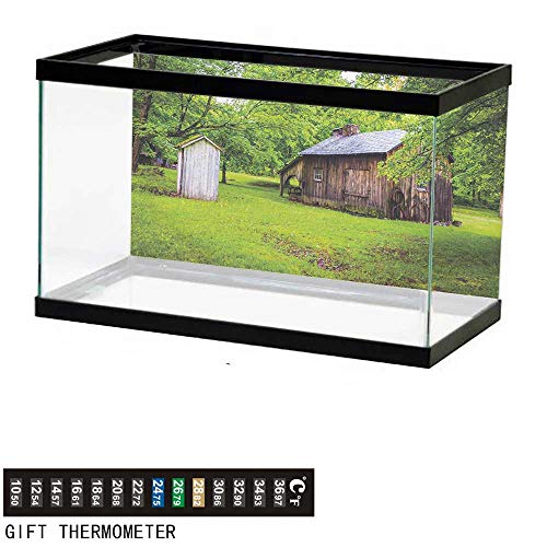 - wwwhsl Aquarium Background,Outhouse,Spring Time Forest Leaves with Outhouse Little Cottage Art Photo,Fern Green and Dark Brown Fish Tank Backdrop 30