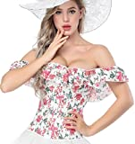 ACHATT Corsets For Women Overbust Waist Cincher Bustier Top With Off Shoulder Collar (Large,Red Floral)