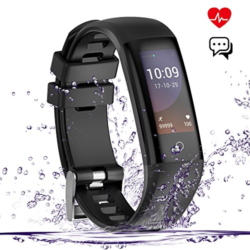 Fitness Tracker, Smart Watch, Waterproof Color Screen Smart Wistband Bluetooth Bracelet Pedometer Watch Health Activity Tracker with Sleep/Heart Rate/Blood Pressure Monitor, Black