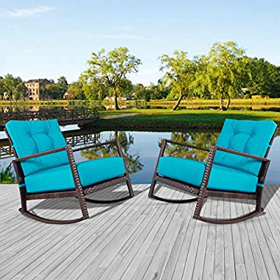 Incbruce Outdoor Patio Rocking Chair 2 Piece Wicker Rocking Bistro Set