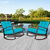 Incbruce Outdoor Patio Rocking Chair 2 Piece Wicker Rocking Bistro Set with Washable and Thick Cushion, Garden Conversation Sets with Teal Seat Cushion