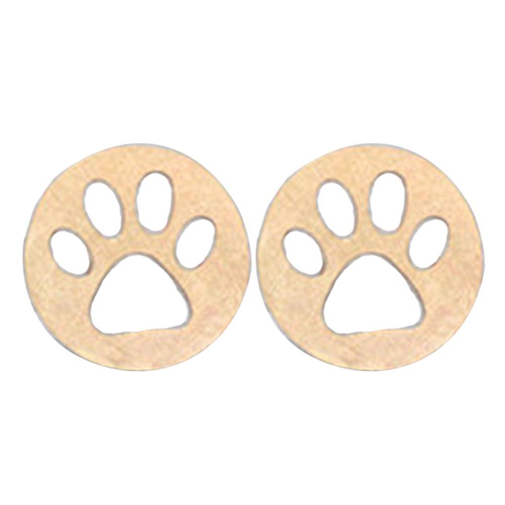 Fashion Hollow Dog Cat Paw Round Stud Earrings Women Piercing Charm Jewelry - Golden