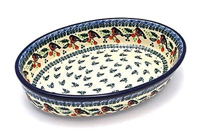 Polish Pottery Baker - Oval - Medium - Red Robin