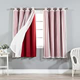 "Best Home Fashion Mix & Match Tulle Sheer Lace and Blackout Curtain Set – Stainless Steel Nickel Grommet Top – Cardinal Red – 52""W x 63""L – (2 Curtains and 2 Sheer curtains)"