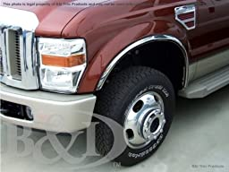 1999, 2000, 2001, 2002, 2003, 2004, 2005, 2006, 2007 Ford Super Duty F250 / F350 / F450 Chrome Stainless Steel Fender Trims Wheel Well Mouldings (4 Pcs)