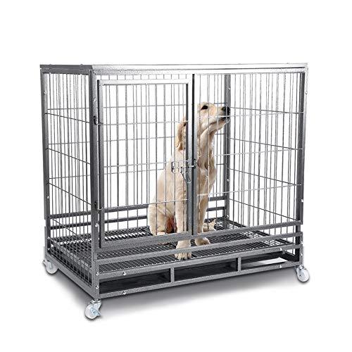 Jaula de Metal para Perros de Doble Puerta, Jaula para Mascotas de ...