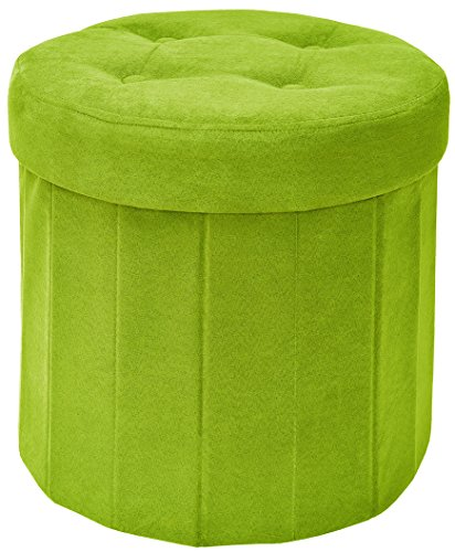 The FHE Group Fresh Home Elements Round Pouf Ottoman with Storage, Tufted Folding Foot Rest, Sturdy 200 lbs Weight Limit, Premium Faux Suede, Green