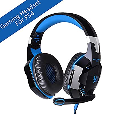 [Latest Version Gaming Headset For PS4] VersionTech KOTION EACH G2000 USB 3.5mm Game Gaming Headphone Headset Earphone Headband with Mic Stereo Bass LED Light for PS4 PC Computer Laptop Mobile Phones - Blue by VersionTech
