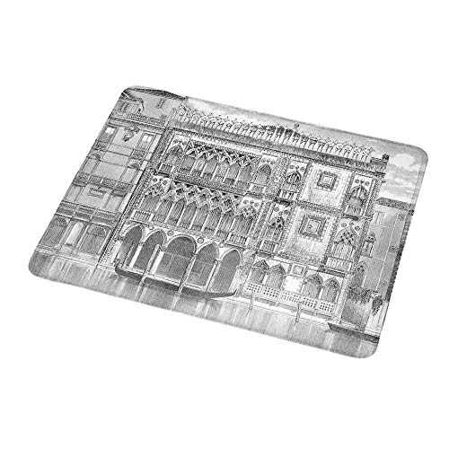 "Gaming Mouse Pad Antique,19th Century Engraving of Grand Canal Venice Monument Landmark Illustration Print,Black White,Gaming Non-Slip Rubber Large Mousepad 9.8""x11.8""inch"