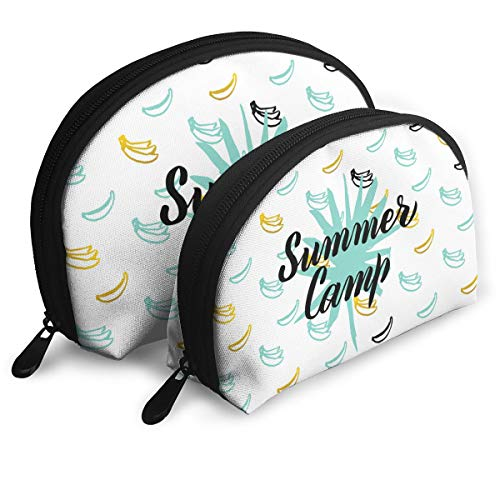 E46Dp1 Summer Camp Postcard Design Travel Portable Cosmetic Bags Organizer Set of 2 Women Teens Girls