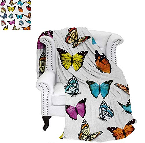 Custom Design Cozy Flannel Blanket Big Collection of Colorful Butterflies Flying Artistic Composition Summertime Print Weave Pattern Blanket 80