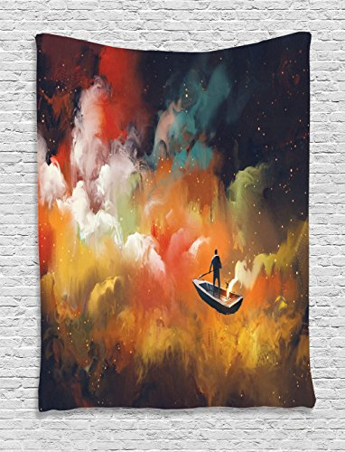 (Fantasy Art House Decor Tapestry by Ambesonne, Man on a Boat Floating Nebula Cloud in Colorful Psychedelic Background, Wall Hanging for Bedroom Living Room Dorm, 60WX80L Inches, Multi)