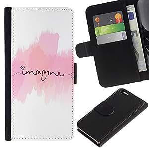 KingStore / Leather Etui en cuir / Apple Iphone 6 / Imagínese texto Rosa Blanco Minimalista