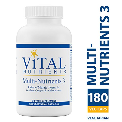 Vital Nutrients - Multi-Nutrients 3 Citrate/Malate Formula (Without Copper or Iron) - Comprehensive Multi-Vitamin/Mineral Formula With Potent Antioxidants in a Gentle Bioavailable Form - 180 Capsules Comprehensive Multivitamin