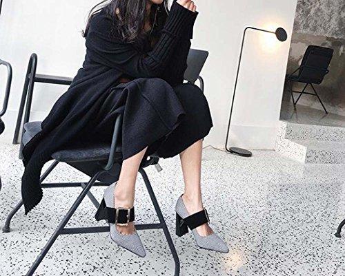 de Estrecha para Tacón Negro Color de Zapatos 35 Talla Mujeres Zapatos 34 Tamaño Desnudos Alto Marrón Punta Negro 39 gtd8nfwxxq