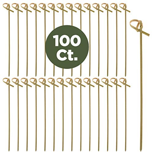 Prexware Bamboo Knot Skewers, 6 Inch Knotted Skewers, Twisted Ends Bamboo Picks Cocktail Picks 100 -