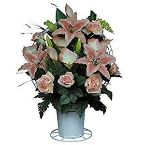 Sympathy Silks Cream Peach Open Rose and Stargazer Lilies Silk Flower Basket by (BA1569) 12