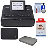 Canon SELPHY CP1300 Wi-Fi Wireless Compact Photo Printer (Black) with KP-108IN Color Ink Paper Set + Custom Case & Removable Foam + Kit