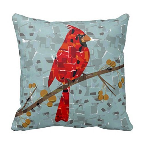 Blair Louisa Cardinal Bird On A Branch Collage Throw Pillow Case (Collage Throw)