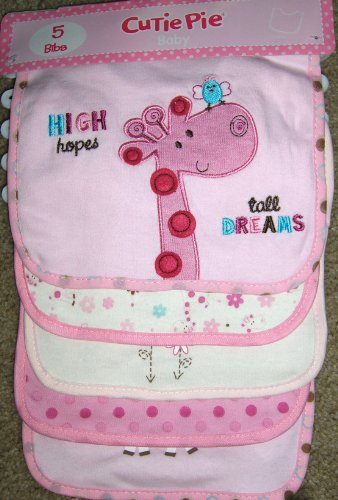 Cutie Pie Baby 5 Pack Baby Bibs Giraffe Appliques/Embroidered Pink Bib Set for Girl