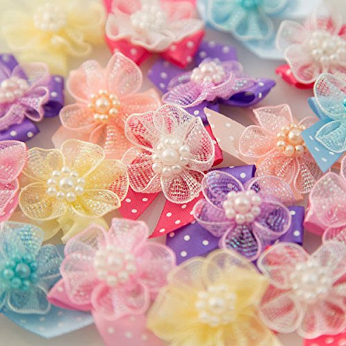 Fancy Dog Bows (Dog Grooming Bows, Dog Hair Bows - 24 Pcs. Fairy Flowers)