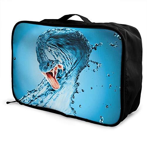 (Travel Luggage Duffle Bag Lightweight Portable Handbag Water Snake Pattern Large Capacity Waterproof Foldable Storage Tote)