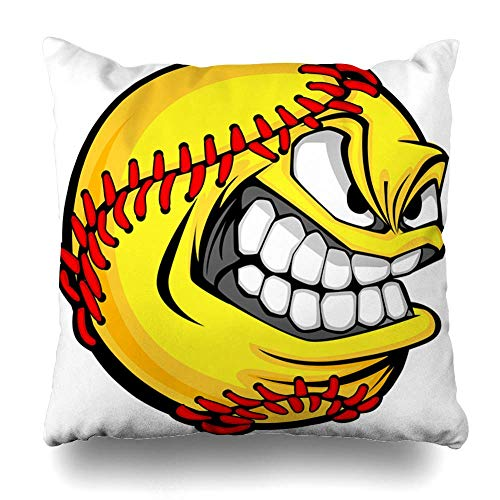 Ball Fastpitch Softball Mean Face Angry Eyes Pitch Decorative Square Throw Pillow Case Cover Cushion Cover Pillowcase Cushion Case for Sofa Bed Chair Seat 18x18 Inch