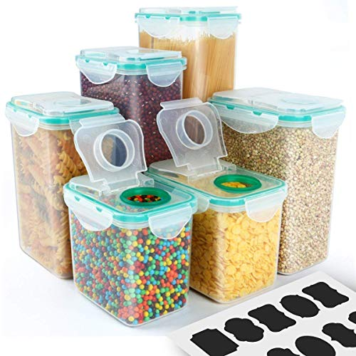 Cereal Container, VERONES Airtight Plastic Storage Containers Perfect for Food Storage Containers Kitchen Storage Containers (1.7 Inch Diameter Round Mouth Not for Big Cereal) 6-Pack