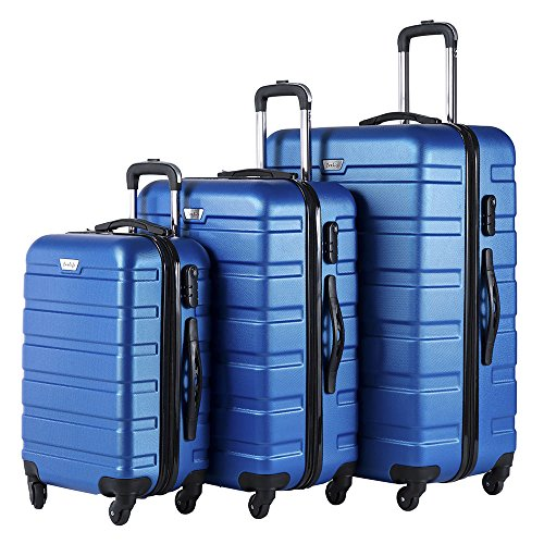Price comparison product image Coolife Luggage 3 Piece Set Spinner Trolley Suitcase Hard Shell Lightweight Carried On Trunk 20inch 24inch 28inch(blue)